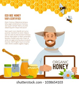 Illustrations at beekeeping theme. Poster vector template. Honey tasty and sweet, health food poster