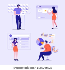 Illustrations of business characters engageing action posture working on business and technology via grapic interface device. Vector set illustrate.