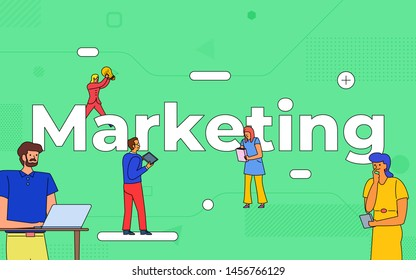 Illustrations business teamwork create business marketing working together. buildind text concept marketing.Vector illustrate.