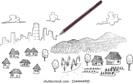 Illustrations of cities, rural towns and rural areas. There is a pencil in it, and it adds an expression that is in the middle of drawing.