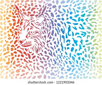 Illustrations color background of lynx skin and head