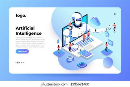 Illustrations concept  artificial intelligence AI. Technology working with smart brain computer and machine connecting device. Isometric vector illustrate. Website design landing page mockup.