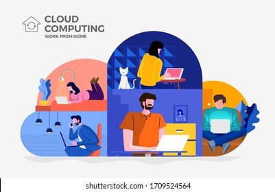 Illustrations concept cloud technology. People working from home. Vector illustrate.