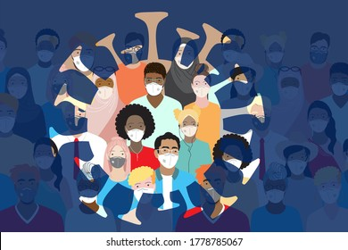 Illustrations concept coronavirus COVID-19 pandemy impact the world. Diverse people wearing medical face masks stand together, virus symbol. International community,  Multiethnic group. Flat vector.