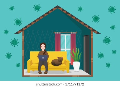 Illustrations concept coronavirus COVID-19, working at home, work from home