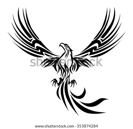 Illustrations Concept Myth Bird Phoenix Rising Stock Vector Royalty