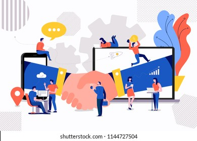 Illustrations concept small people creating value of partner business. via handshake deal between company. Vector illustrate.