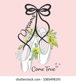 illustrations of cute ballerina shoes
