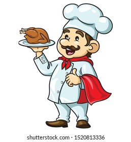 Illustrations of cute cartoon chef with roasted chicken.