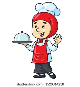 Illustrations of cute cartoon female chef with hijab.