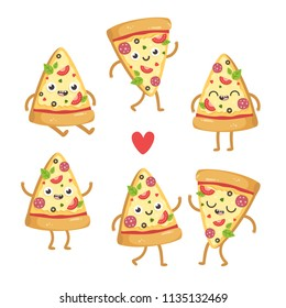 Illustrations of cute cartoon pizza slices.  Kawaii vector characters in different poses. Isolated on white