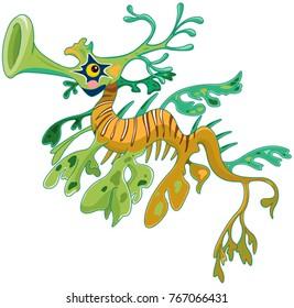 Illustrations of cute dragon seahorse