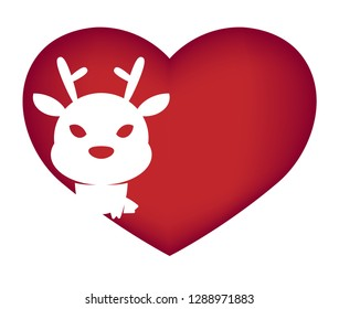Illustrations of dear action logo on white background, Animals vector of isolated a cute dear icon