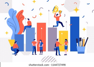 Illustrations design concept business success via growth graph chart. Small people working together for drive business goal. Vectyor illustrate.
