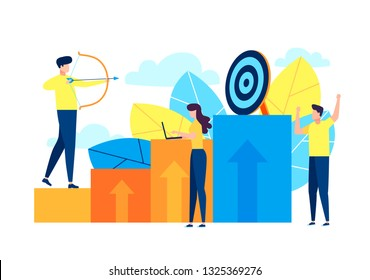 Illustrations design concept business success via growth graph chart. Small people working together for drive business goal. Vector illustrate. Business winner achievement, ambition. Audit marketing