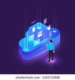 Illustrations design concept digital network with cloud technology and service solution. Vector isometric illustrate.