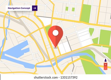 Illustrations design concept location maps with road follow route for destination drive by GPS navigator. Pin point on direction. Vector isometric illustrate.