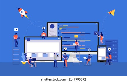 Illustrations design developer or programmer development code and website ond desktop mobile device via working together. Vector illustrate.