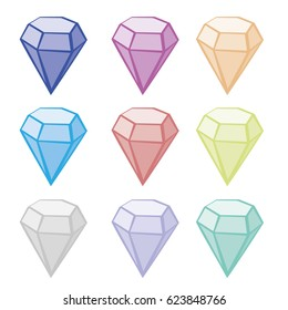 Illustrations of diamonds. Jewelry symbol. Gem stone. Graphic elements on white background. Set of colored and shaded icons. Vector - eps 10