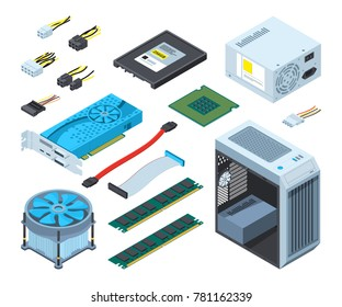 Illustrations of different electronic parts and components for computer. Hardware for computer, chip processor and part component semiconductor and microprocessor vector