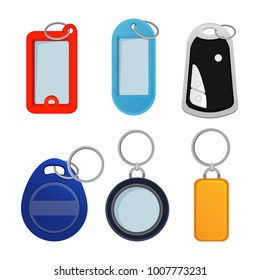 Illustrations of different keychains. Pictures in cartoon style. Trinket for souvenir or home doo key vector