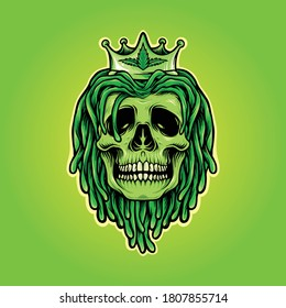 illustrations Dreadlocks Skull with Weed Crown Mascot Logo for merchandise