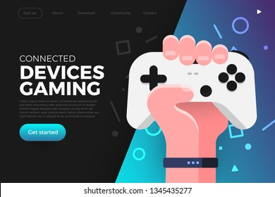 Illustrations flat design concept game online streaming platform can playing multiple device with internet browser. Hand hold game controller. Vector illustrate.