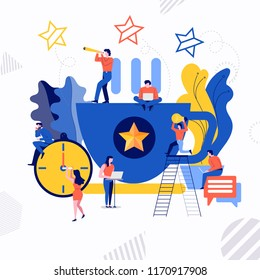 Illustrations flat design concept small people working together create big icon about coffee break time. Vector illustrate.