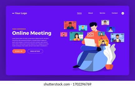 Illustrations flat design concept video conference. online meeting work form home. Vector illustrate.