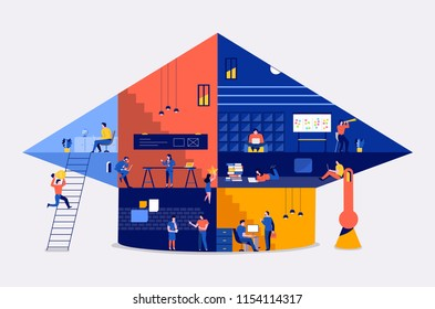 Illustrations flat design concept working space building icon education bachelor school. Create by small business people working inside. Vector illustrate.