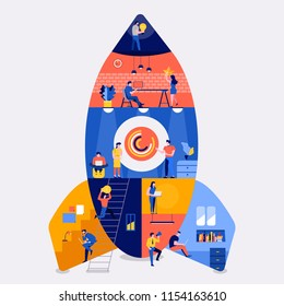 Illustrations flat design concept working space building rocket likestartup company. Create by small business people working inside. Vector illustrate.