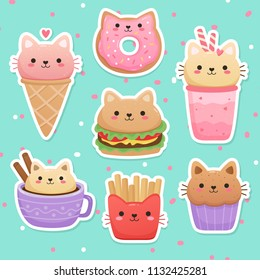 Illustrations of food in the shape of a cute cat. Milkshake, ice cream, donut, hamburger, muffin, cappuccino, french fries. Kawaii vector set
