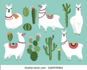 Illustrations of funny llama. Vector animal in flat style