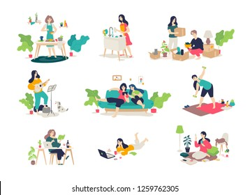 Illustrations of girls and boys engaged in household chores. Vector. Young people relax, play the guitar, cook, sit on the Internet. Relocation, delivery of things. Illustrations for the magazine.