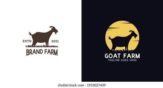 illustrations of goat farm logo design concept.