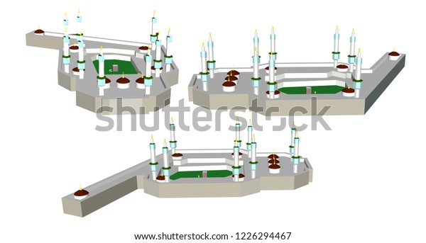 Illustrations Kabah Mecca Hajj Concept Isometric Stock