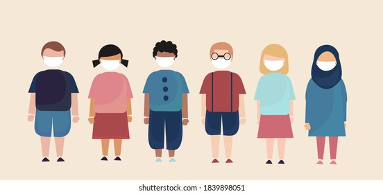illustrations of kids standing together wearing masks, group, all over the world - Shutterstock ID 1839898051