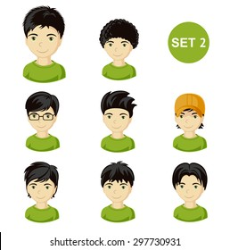 Illustrations of little boys with various hair style. Set of children's faces.