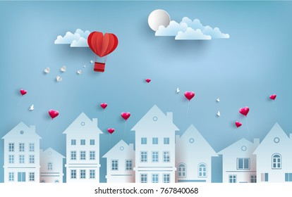 illustrations of love and valentine's day. Describe a love balloon with a beautiful shape. there is beautiful housing. design paper arts and crafts