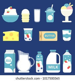 Illustrations of milk products. Cream, yogurt and cheese. Bottle milk and yogurt, cheese food and dairy cream vector