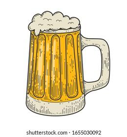 Illustrations of mug of beer in engraving style. Design element for logo, label, emblem, sign. Vector illustration
