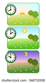 Illustrations of nature at different times of day. Morning, noon and night. Clock shows. Forest Glade. The sun is shining. Moon and stars. Vector.