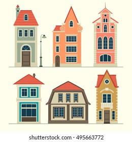 illustrations of old houses. Stylized facades