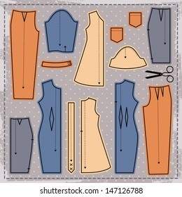 illustrations on the theme of sewing (elements cut).