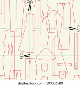 illustrations on the theme of sewing (elements cut). seamless vector pattern.