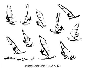 Illustrations on the theme of windsurfing.
