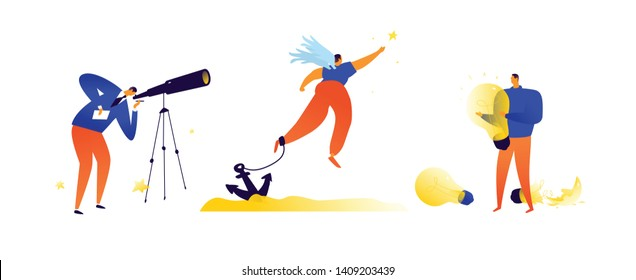 Illustrations on the topic of business. Vector. Metaphoric situations in business. Finding solutions, dreams and creative ideas.