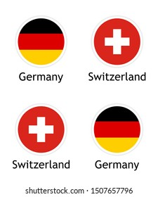 illustrations of the Political Union of Switzerland and Germany. German and Swiss flags in round flat shape with captions isolated on white background. Vector template.