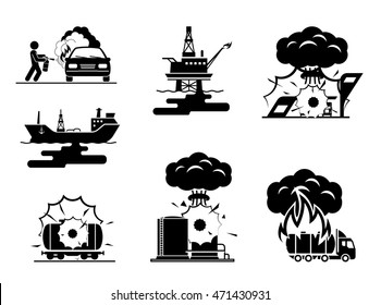 Illustrations presenting accidents in oil industry. Collection of pictogram presenting ecological disaster