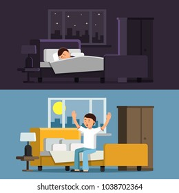 Illustrations of relaxed people. Sleeping man in bed in the night. Male in the morning. Man relax sleep in bedroom, night relaxation comfortable vector